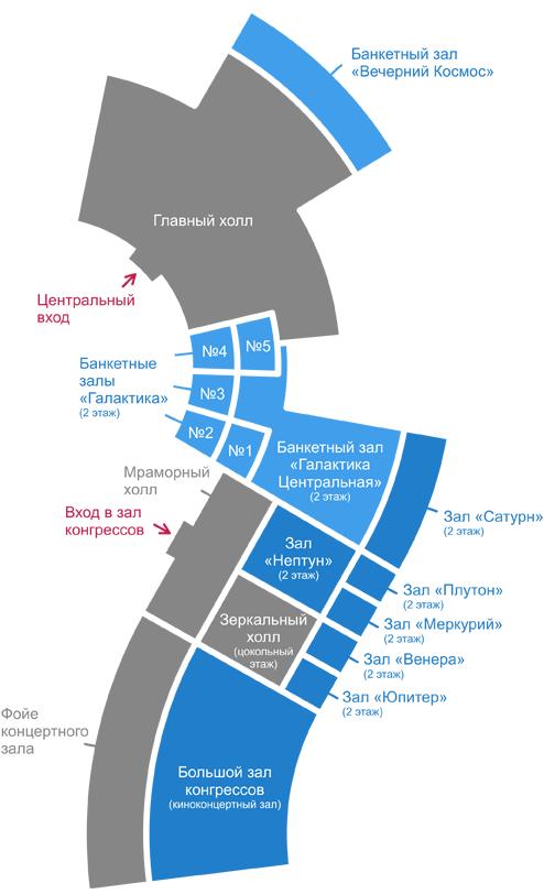 Схема конференц-залов гостиницы Космос.