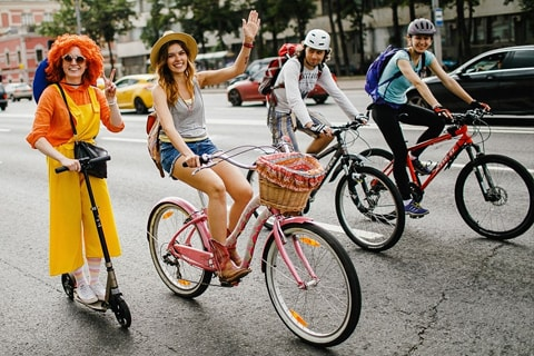 Moscow autumn bike parade on september 17